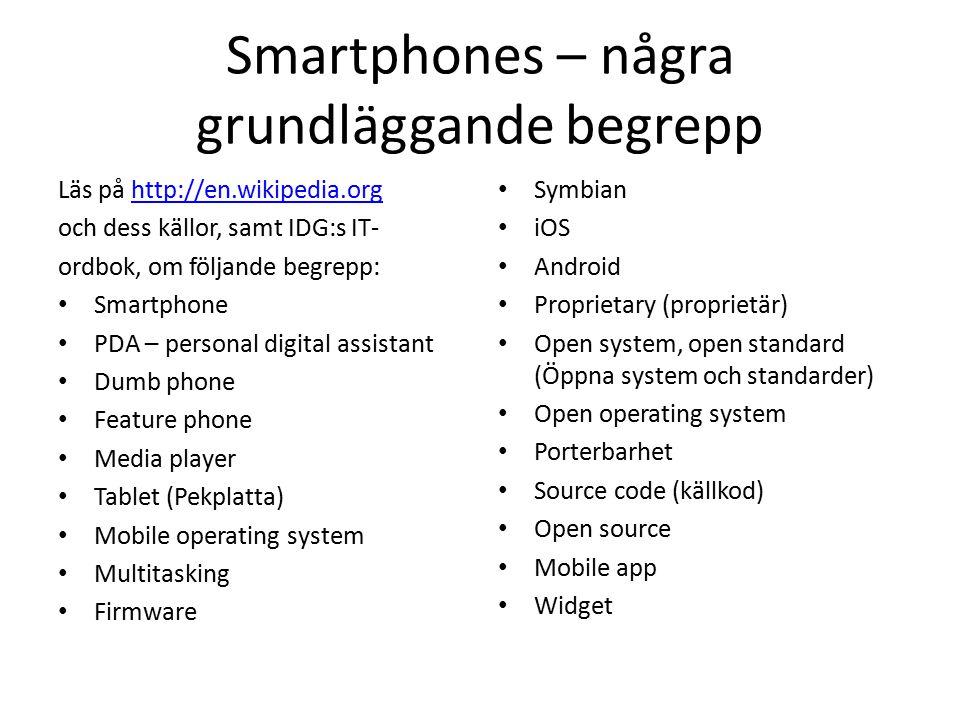 Smartphones – några grundläggande begrepp Läs på http://en.wikipedia.orghttp://en.wikipedia.org och dess källor, samt IDG:s IT- ordbok, om följande be