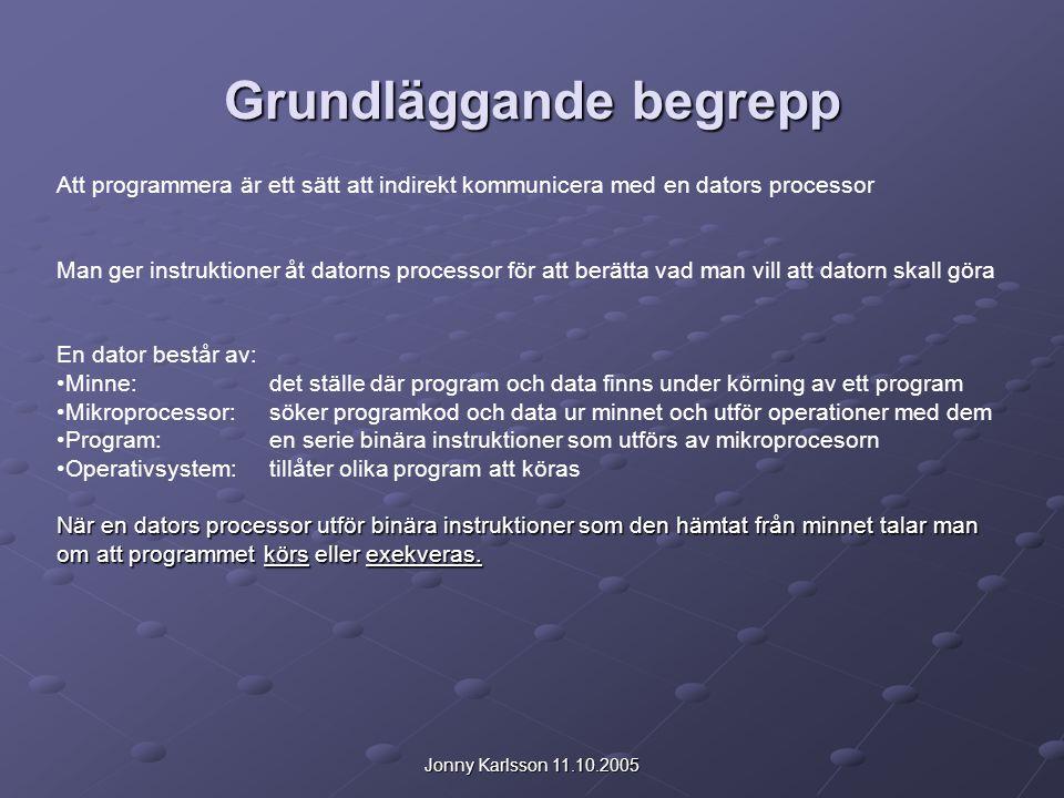 Jonny Karlsson 11.10.2005 Grundläggande begrepp Att programmera är ett sätt att indirekt kommunicera med en dators processor Man ger instruktioner åt