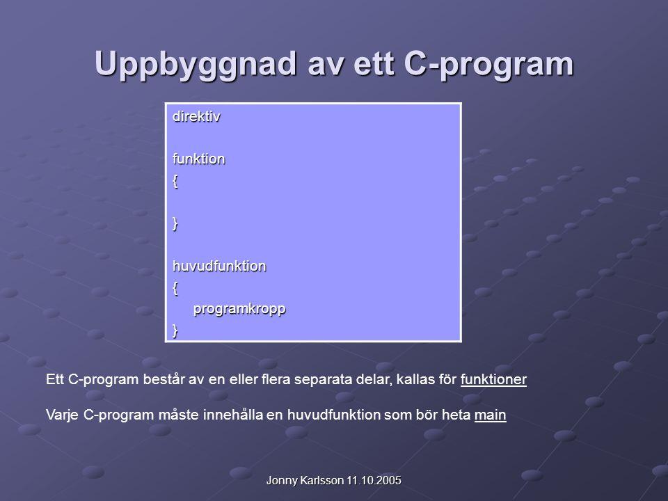 Jonny Karlsson 11.10.2005 Uppbyggnad av ett C-program direktivfunktion{}huvudfunktion{ programkropp programkropp} Ett C-program består av en eller fle