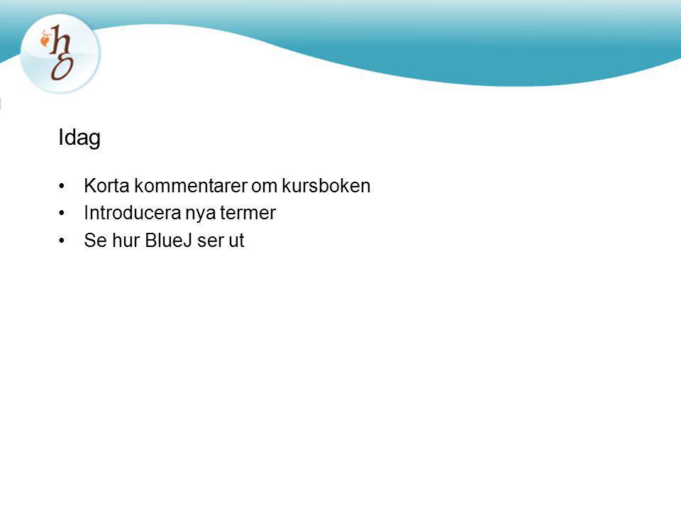 Idag Korta kommentarer om kursboken Introducera nya termer Se hur BlueJ ser ut