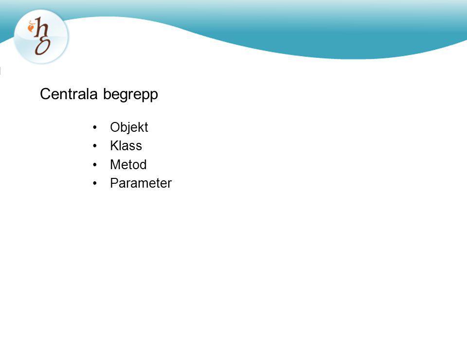 Centrala begrepp Objekt Klass Metod Parameter