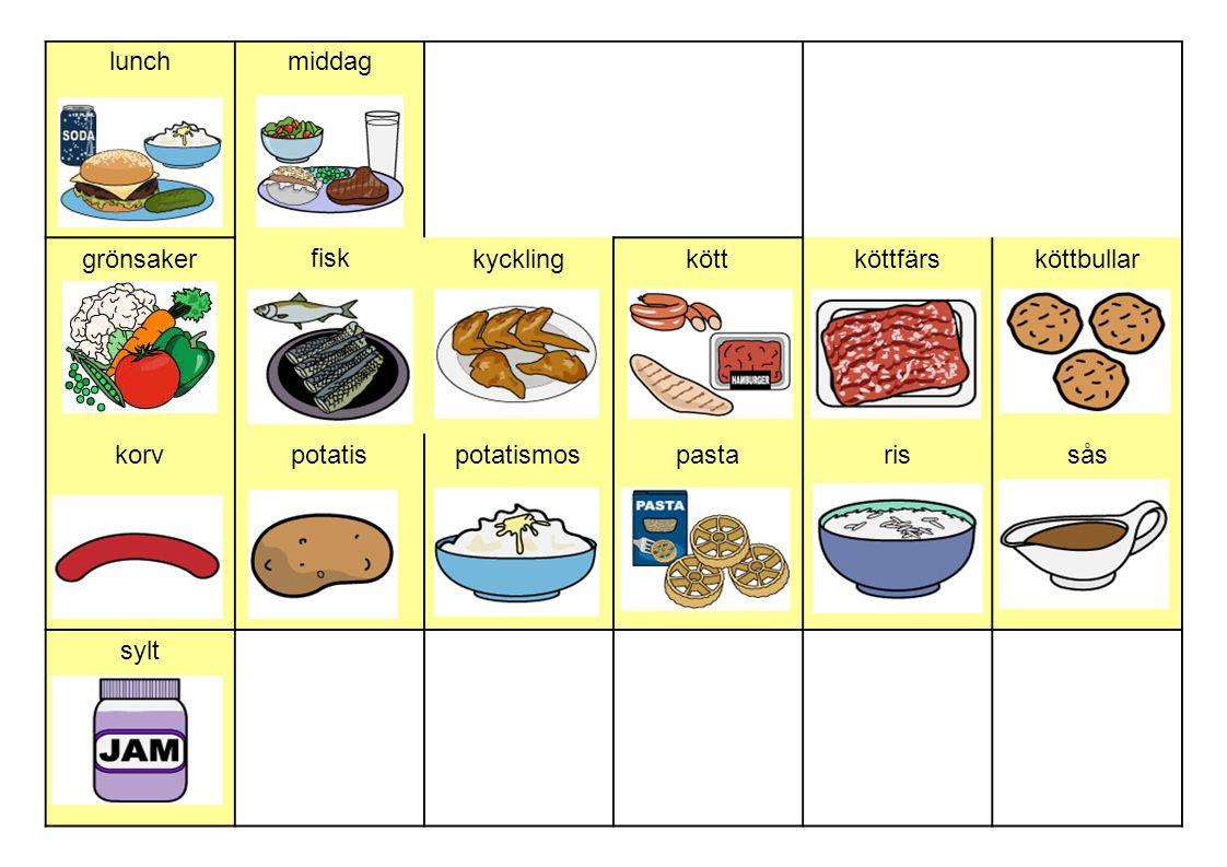 lunchmiddag grönsaker fisk kycklingköttköttfärsköttbullar korvpotatispotatismospastarissås sylt