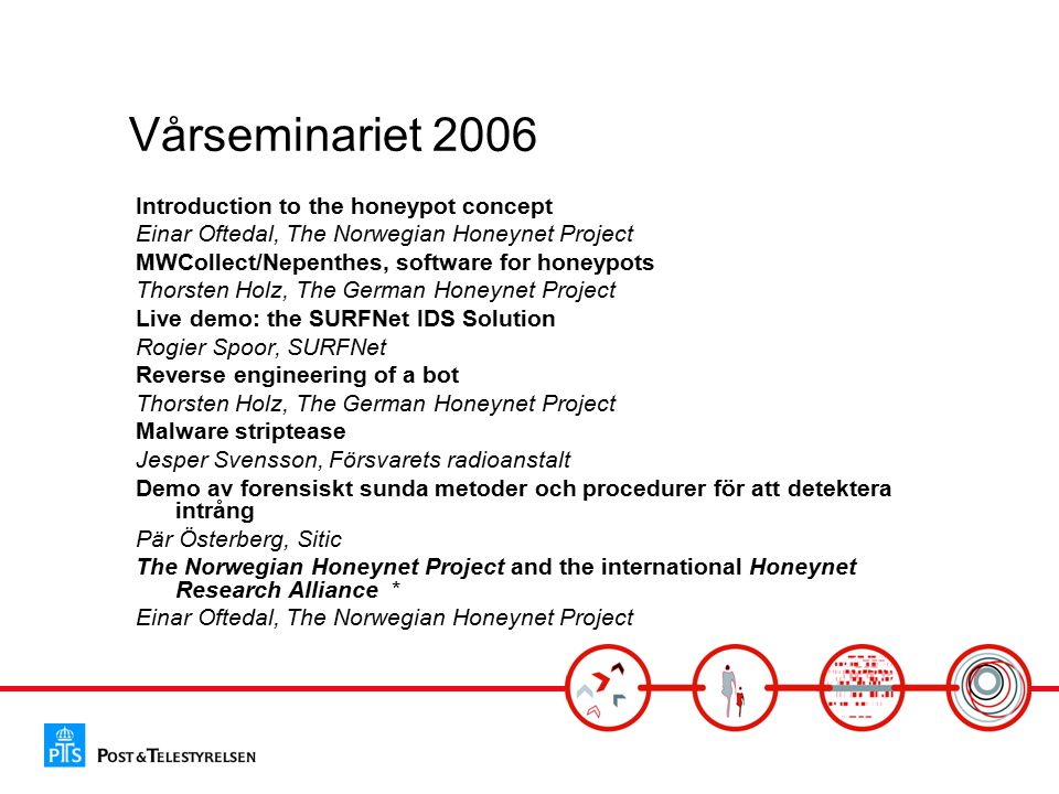 Vårseminariet 2006 Introduction to the honeypot concept Einar Oftedal, The Norwegian Honeynet Project MWCollect/Nepenthes, software for honeypots Thor