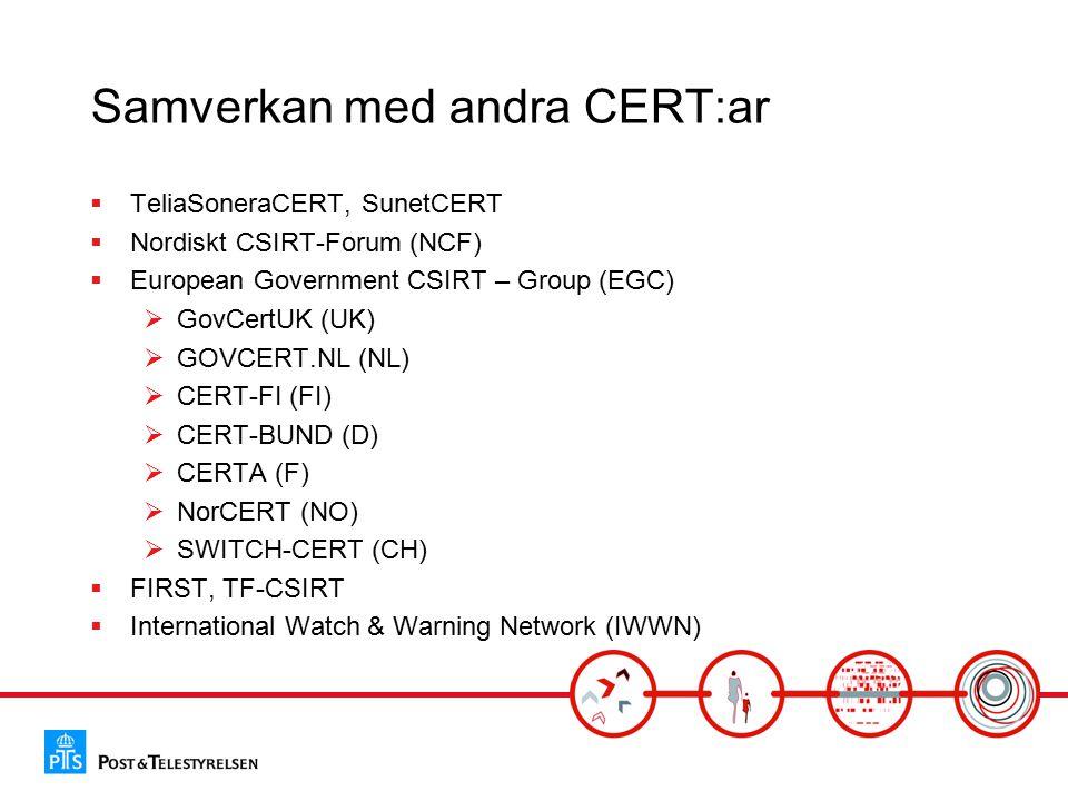 Samverkan med andra CERT:ar  TeliaSoneraCERT, SunetCERT  Nordiskt CSIRT-Forum (NCF)  European Government CSIRT – Group (EGC)  GovCertUK (UK)  GOVCERT.NL (NL)  CERT-FI (FI)  CERT-BUND (D)  CERTA (F)  NorCERT (NO)  SWITCH-CERT (CH)  FIRST, TF-CSIRT  International Watch & Warning Network (IWWN)