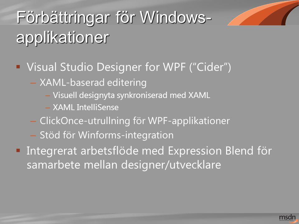 Förbättringar för Windows- applikationer  Visual Studio Designer for WPF ( Cider ) – XAML-baserad editering – Visuell designyta synkroniserad med XAML – XAML IntelliSense – ClickOnce-utrullning för WPF-applikationer – Stöd för Winforms-integration  Integrerat arbetsflöde med Expression Blend för samarbete mellan designer/utvecklare