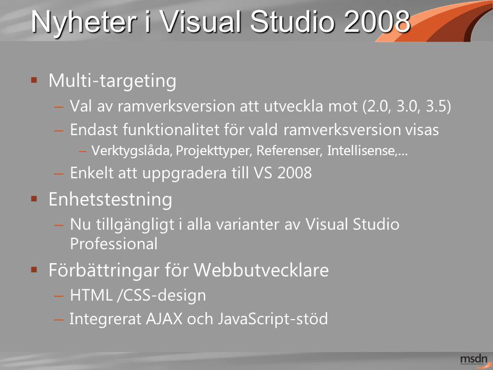Nyheter i Visual Studio 2008  Multi-targeting – Val av ramverksversion att utveckla mot (2.0, 3.0, 3.5) – Endast funktionalitet för vald ramverksversion visas – Verktygslåda, Projekttyper, Referenser, Intellisense,… – Enkelt att uppgradera till VS 2008  Enhetstestning – Nu tillgängligt i alla varianter av Visual Studio Professional  Förbättringar för Webbutvecklare – HTML /CSS-design – Integrerat AJAX och JavaScript-stöd