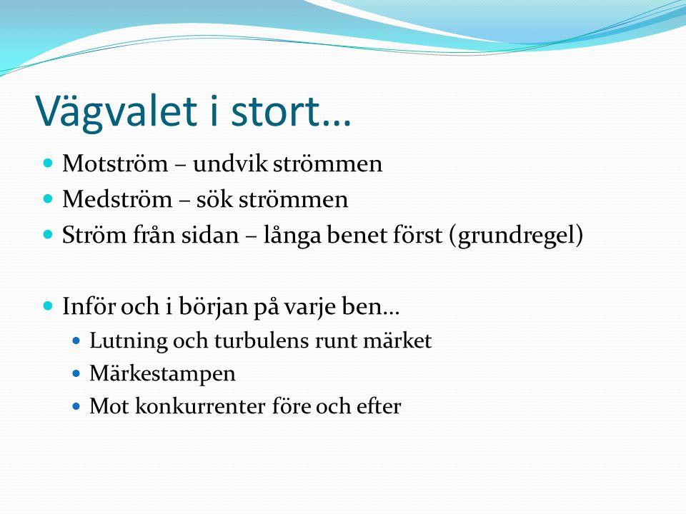 Vägvalet i stort… Motström – undvik strömmen Medström – sök strömmen Ström från sidan – långa benet först (grundregel) Inför och i början på varje ben