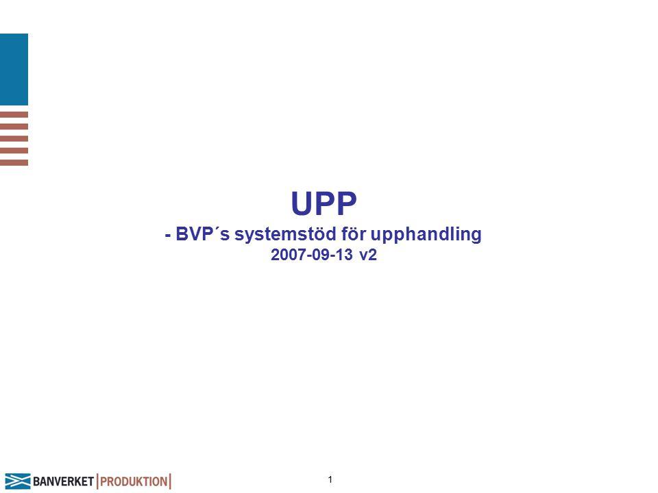 1 UPP - BVP´s systemstöd för upphandling 2007-09-13 v2