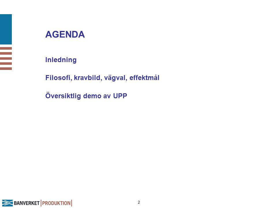 2 AGENDA Inledning Filosofi, kravbild, vägval, effektmål Översiktlig demo av UPP