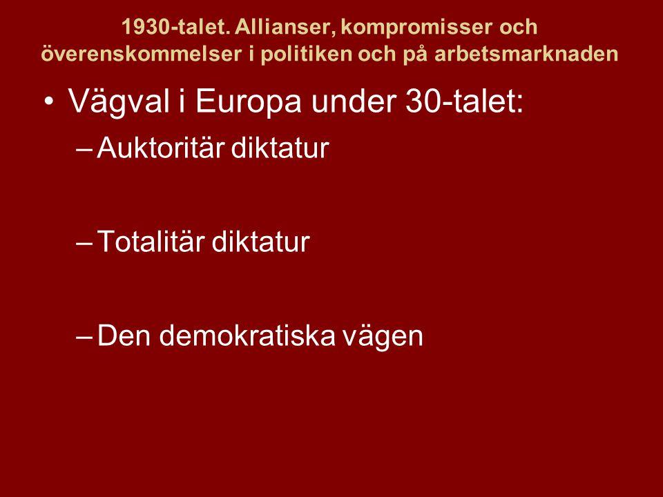 1930-talet. Allianser, kompromisser och överenskommelser i politiken och på arbetsmarknaden Vägval i Europa under 30-talet: –Auktoritär diktatur –Tota