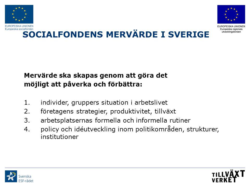 SOCIALFONDENS MERVÄRDE I SVERIGE Mervärde ska skapas genom att göra det möjligt att påverka och förbättra: 1.individer, gruppers situation i arbetsliv