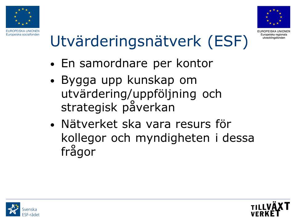 Utvärderingsnätverk (ESF) En samordnare per kontor Bygga upp kunskap om utvärdering/uppföljning och strategisk påverkan Nätverket ska vara resurs för