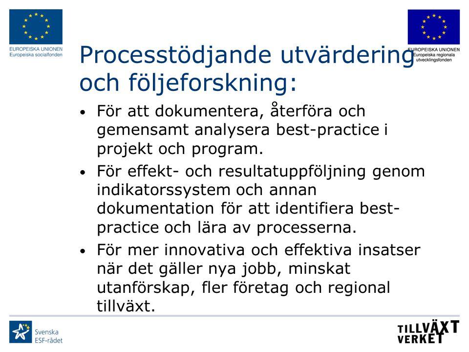 Processtödjande utvärdering och följeforskning: För att dokumentera, återföra och gemensamt analysera best-practice i projekt och program. För effekt-