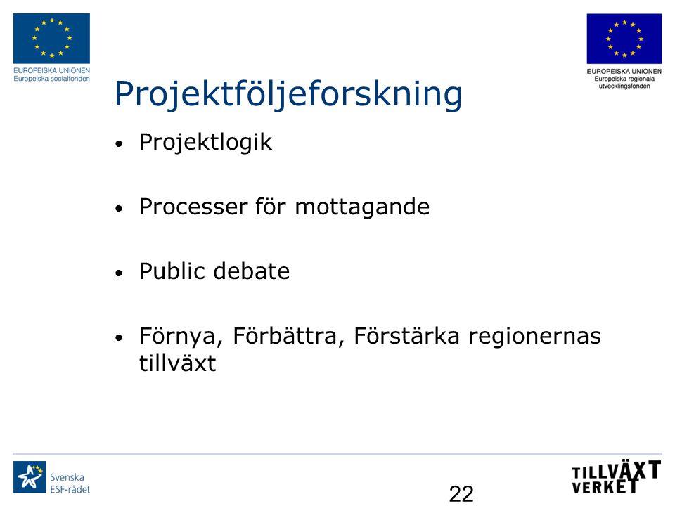 22 Projektföljeforskning Projektlogik Processer för mottagande Public debate Förnya, Förbättra, Förstärka regionernas tillväxt