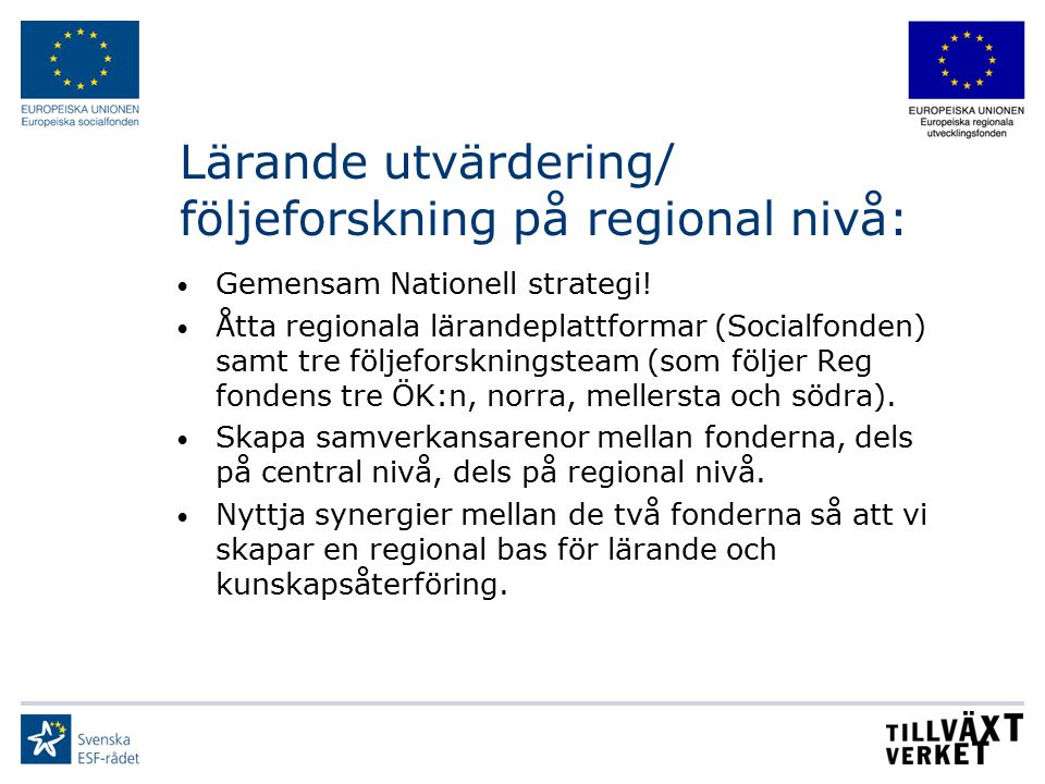 Lärande utvärdering/ följeforskning på regional nivå: Gemensam Nationell strategi! Åtta regionala lärandeplattformar (Socialfonden) samt tre följefors