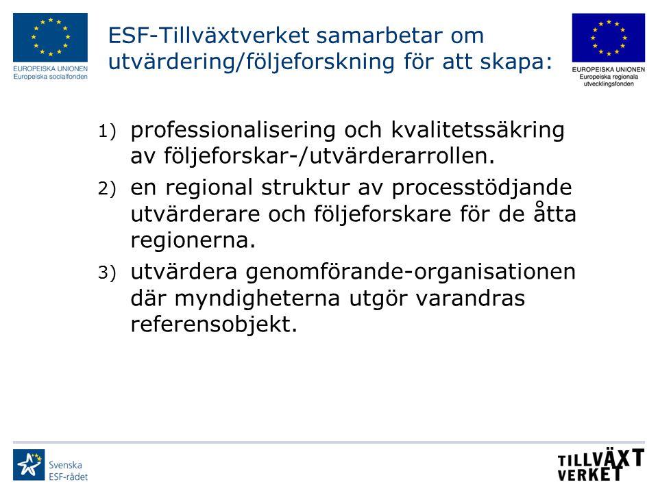 ESF-Tillväxtverket samarbetar om utvärdering/följeforskning för att skapa: 1) professionalisering och kvalitetssäkring av följeforskar-/utvärderarroll