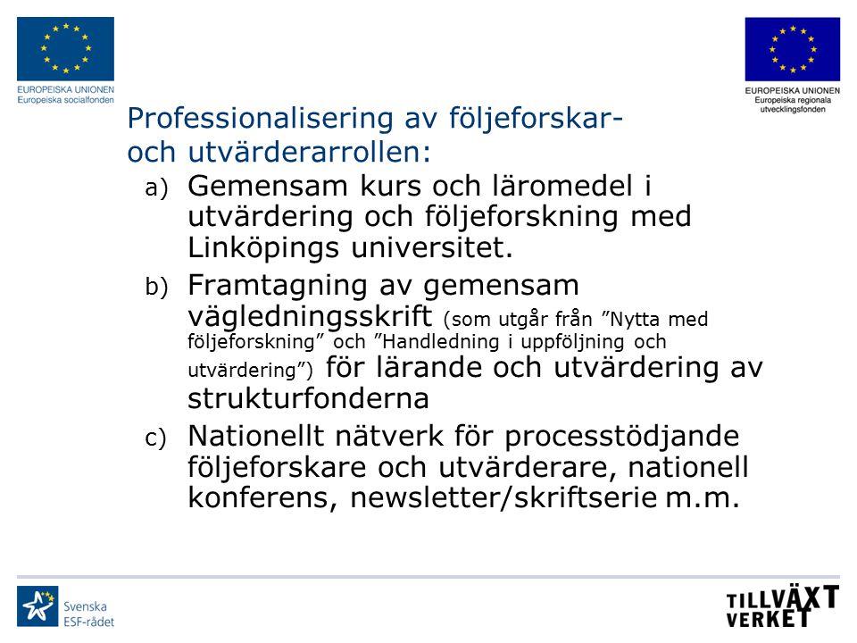 Professionalisering av följeforskar- och utvärderarrollen: a) Gemensam kurs och läromedel i utvärdering och följeforskning med Linköpings universitet.