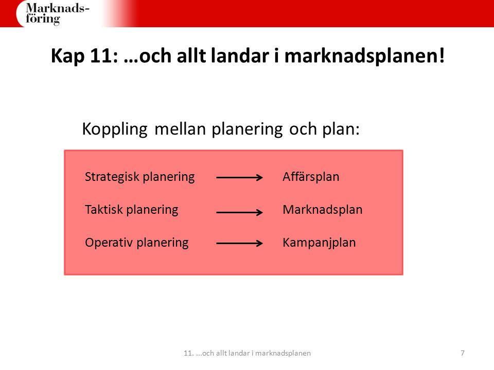 Kap 11: …och allt landar i marknadsplanen! Koppling mellan planering och plan: Strategisk planeringAffärsplan Taktisk planeringMarknadsplan Operativ p