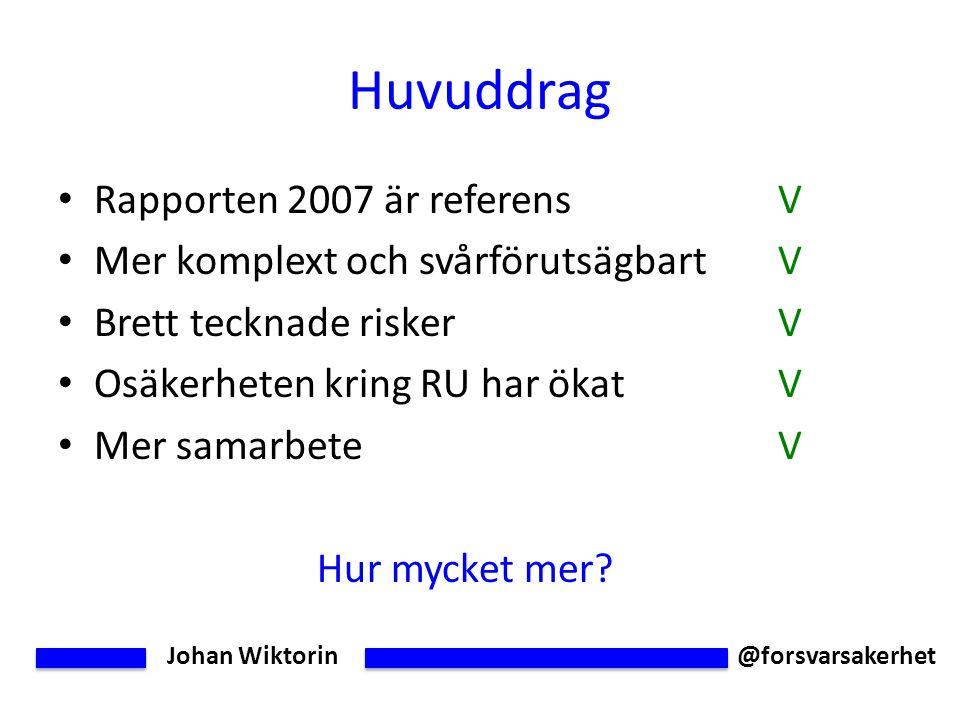 Johan Wiktorin @forsvarsakerhet Huvuddrag Rapporten 2007 är referensV Mer komplext och svårförutsägbartV Brett tecknade riskerV Osäkerheten kring RU har ökatV Mer samarbeteV Hur mycket mer