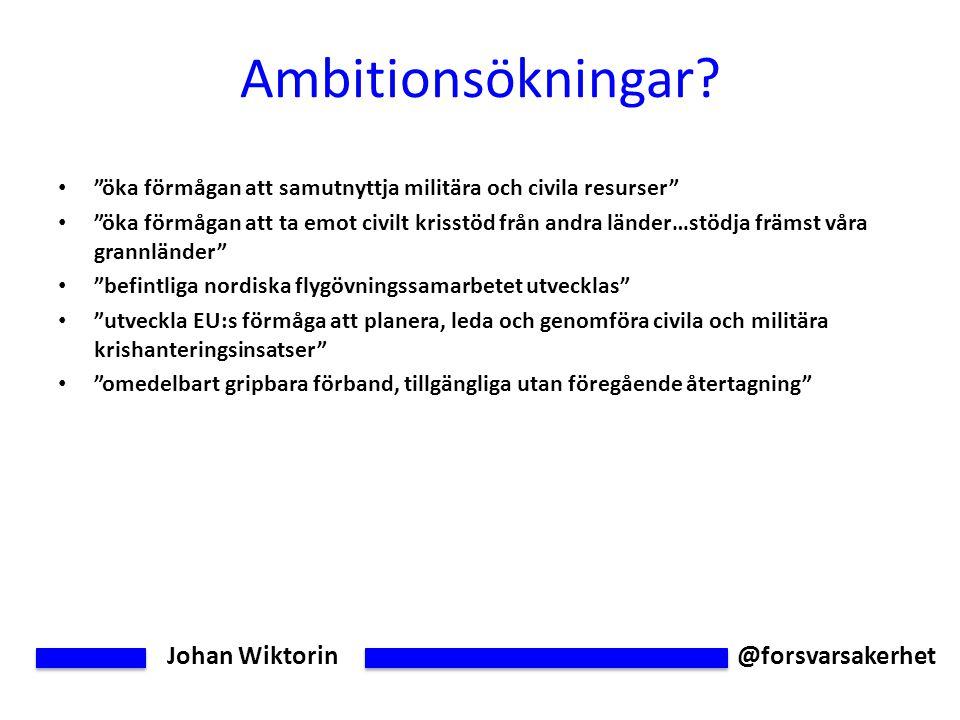 Johan Wiktorin @forsvarsakerhet Ambitionsökningar.