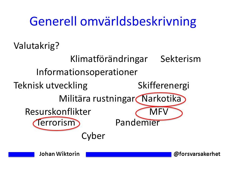 Johan Wiktorin @forsvarsakerhet Generell omvärldsbeskrivning Valutakrig.