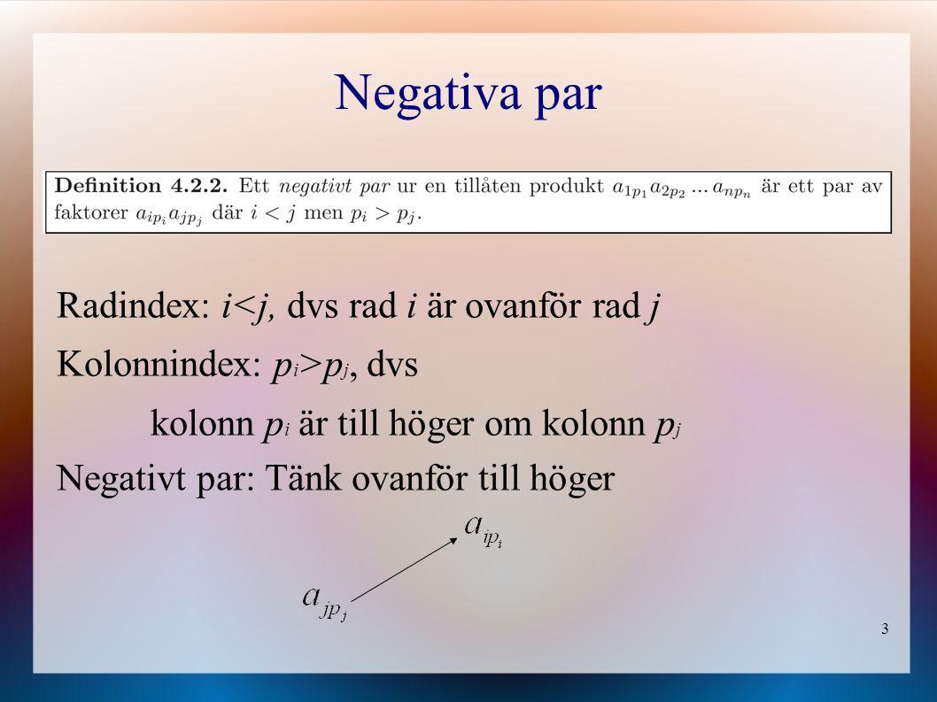 3 Negativa par Radindex: i<j, dvs rad i är ovanför rad j Kolonnindex: p i >p j, dvs kolonn p i är till höger om kolonn p j Negativt par: Tänk ovanför