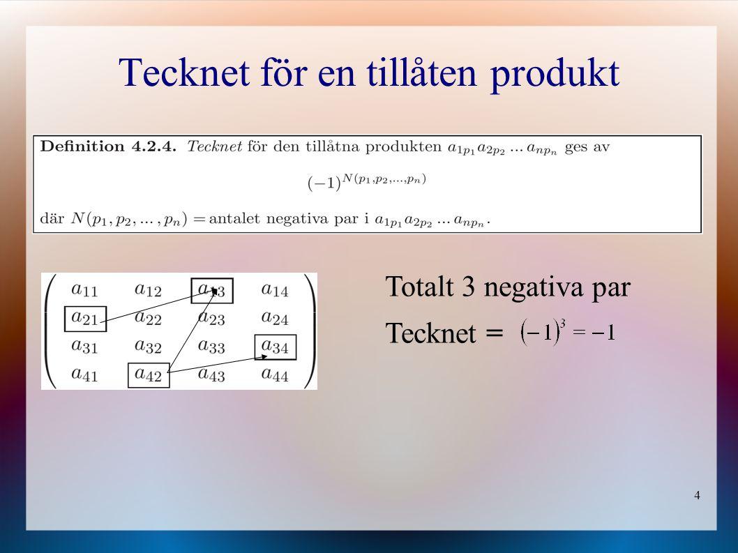 4 Tecknet för en tillåten produkt Totalt 3 negativa par Tecknet =