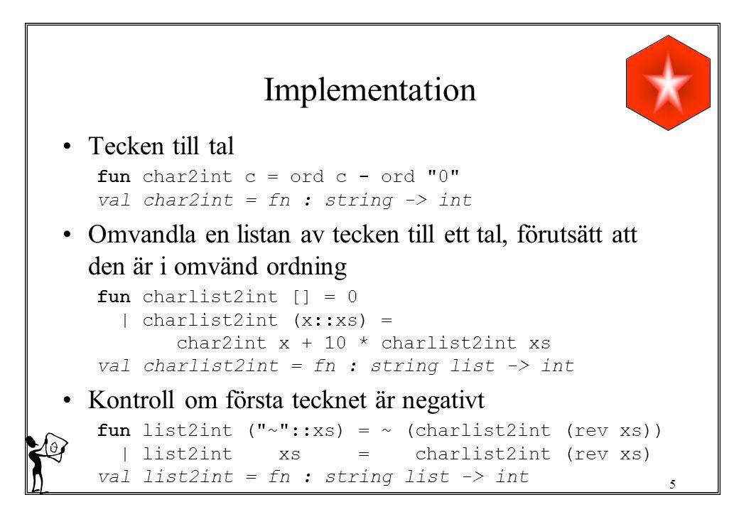 6 Sträng till tal val string2int = list2int o explode val string2int = fn : string -> int Test - string2int 234 ; > val it = 234 : int - string2int ~345 ; > val it = ~345 : int - string2int(int2string ~98245); > val it = ~98245 : int