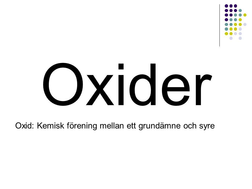 Oxider Oxid: Kemisk förening mellan ett grundämne och syre