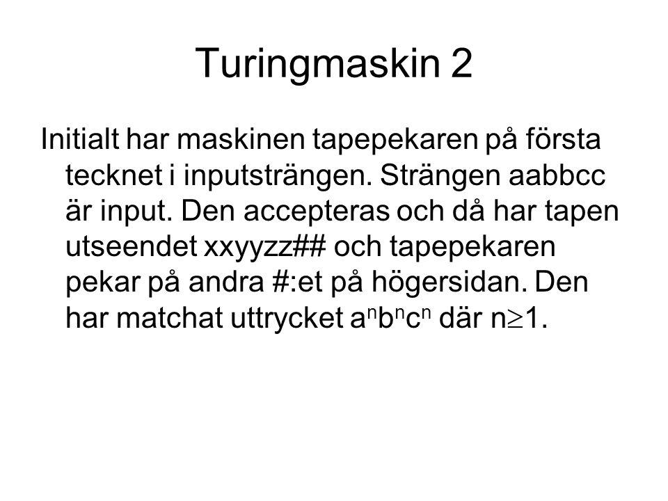 Turingmaskin 2 Initialt har maskinen tapepekaren på första tecknet i inputsträngen.