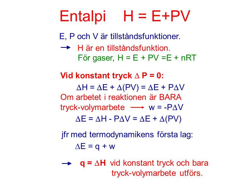 Entalpi H = E+PV E, P och V är tillståndsfunktioner. H är en tillståndsfunktion. För gaser, H = E + PV =E + nRT Vid konstant tryck  P = 0:  H =  E