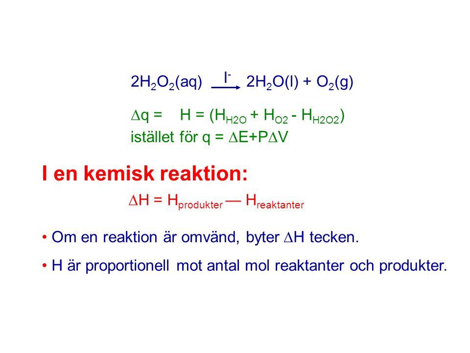 2H 2 O 2 (aq) 2H 2 O(l) + O 2 (g) I-I-  q = H = (H H2O + H O2 - H H2O2 ) istället för q =  E+P  V I en kemisk reaktion:  H = H produkter — H reakt