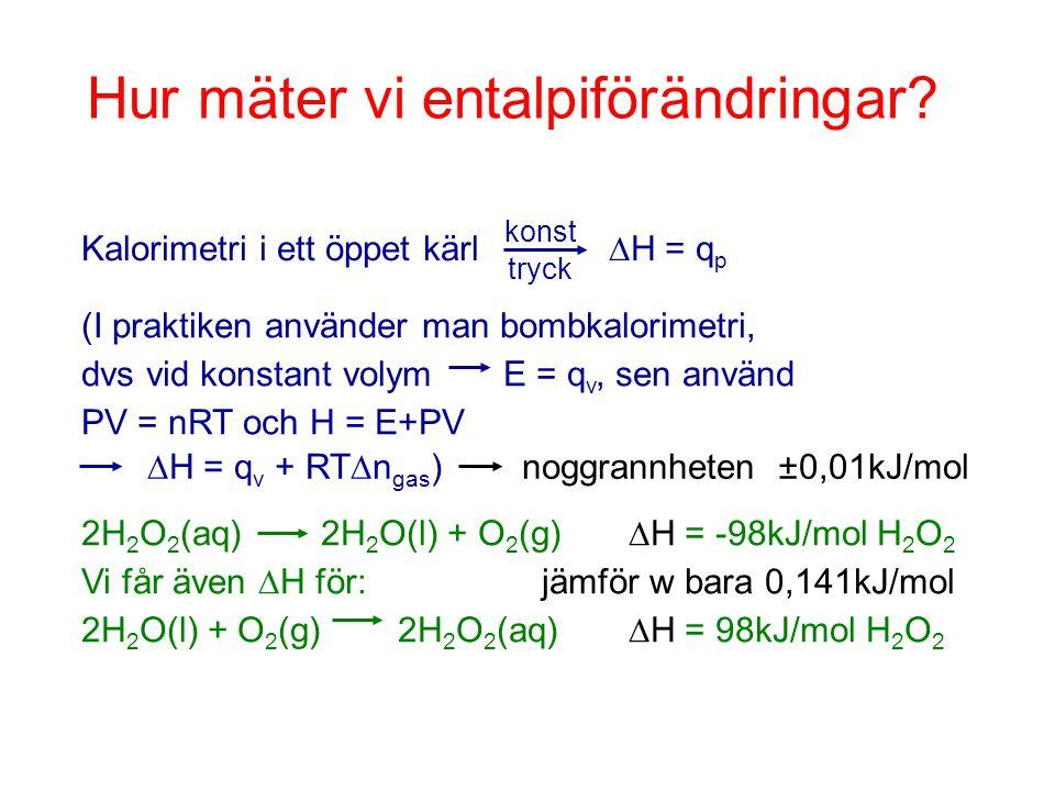Hur mäter vi entalpiförändringar? Kalorimetri i ett öppet kärl  H = q p konst tryck (I praktiken använder man bombkalorimetri, dvs vid konstant volym