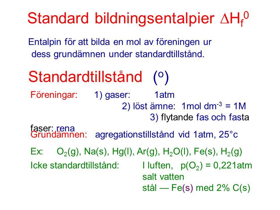 Standard bildningsentalpier  H f 0 Entalpin för att bilda en mol av föreningen ur dess grundämnen under standardtillstånd. Standardtillstånd ( o ) Fö