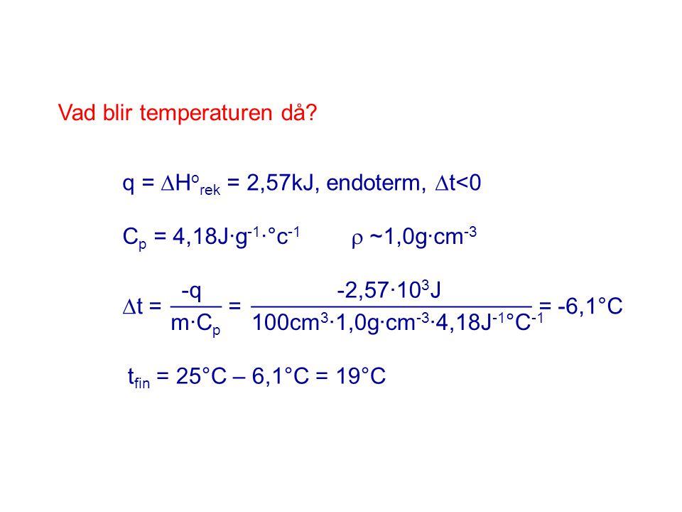 Vad blir temperaturen då? q =  H o rek = 2,57kJ, endoterm,  t<0  t = = = -6,1°C -q m·C p ____ -2,57·10 3 J 100cm 3 ·1,0g·cm -3 ·4,18J -1 °C -1 ____