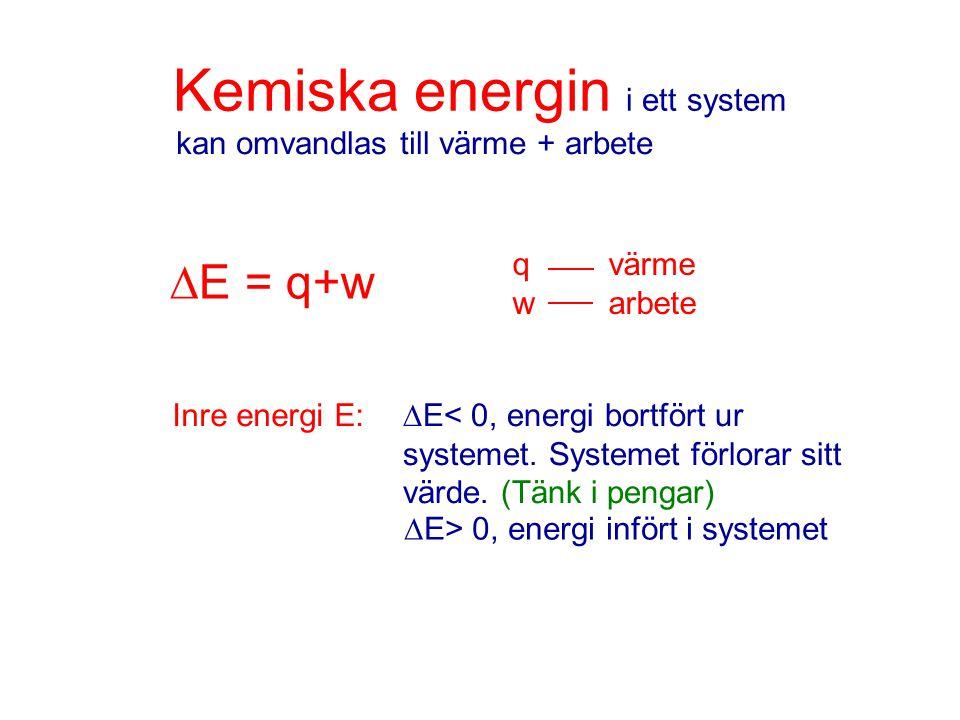 Kemiska energin i ett system kan omvandlas till värme + arbete qvärme warbete  E = q+w Inre energi E:  E< 0, energi bortfört ur systemet. Systemet f