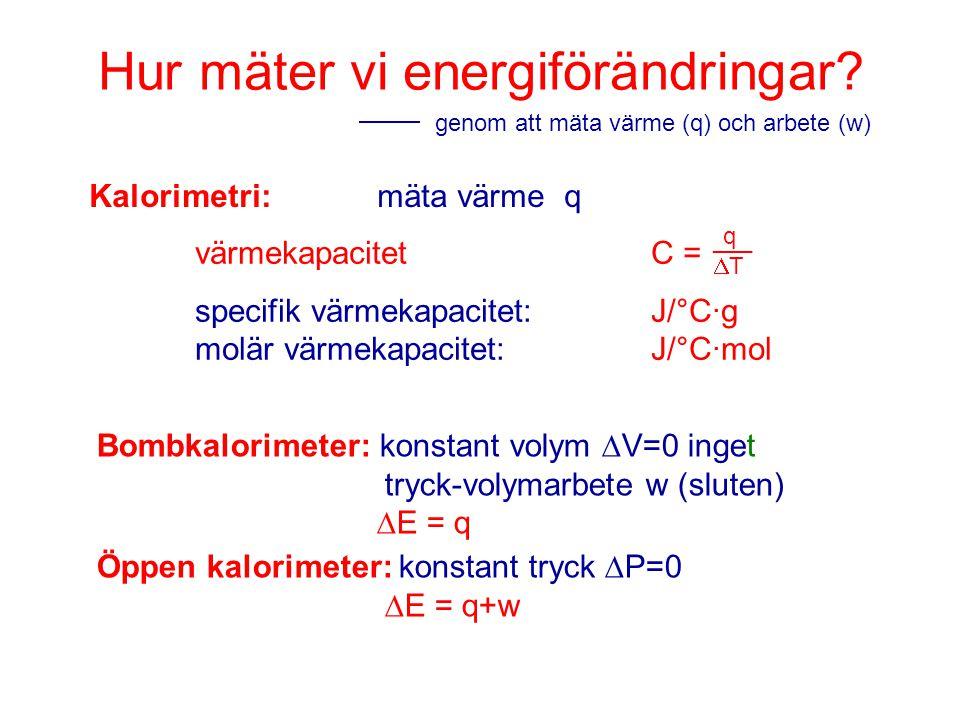 Hur mäter vi energiförändringar? genom att mäta värme (q) och arbete (w) Kalorimetri:mäta värme q värmekapacitet C = specifik värmekapacitet: J/°C·g m