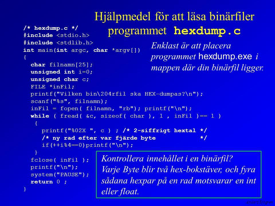 Anders Sjögren Hjälpmedel för att läsa binärfiler programmet hexdump.c /* hexdump.c */ #include #include int main(int argc, char *argv[]) { char filnamn[25]; unsigned int i=0; unsigned char c; FILE *inFil; printf( Vilken bin\204rfil ska HEX-dumpas \n ); scanf( %s , filnamn); inFil = fopen( filnamn, rb ); printf( \n ); while ( fread( &c, sizeof( char ), 1, inFil )== 1 ) { printf( %02X , c ) ; /* 2-siffrigt hextal */ /* ny rad efter var fjärde byte */ if(++i%4==0)printf( \n ); } fclose( inFil ); printf( \n ); system( PAUSE ); return 0 ; } Kontrollera innehållet i en binärfil.