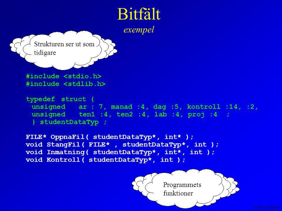 Anders Sjögren Bitfält exempel int main( void ) { studentDataTypstudentVektor[30]; intantal=0, xAntal ; FILE*filPek=NULL; filPek = OppnaFil( studentVektor, &antal ); printf( Hur många studenters prestationer skall matas in?--> ); scanf( %d , &xAntal ); Inmatning( studentVektor, &antal, xAntal ); Kontroll( studentVektor, antal ); StangFil( filPek, studentVektor, antal ); return; } Antal studenter i arrayen.