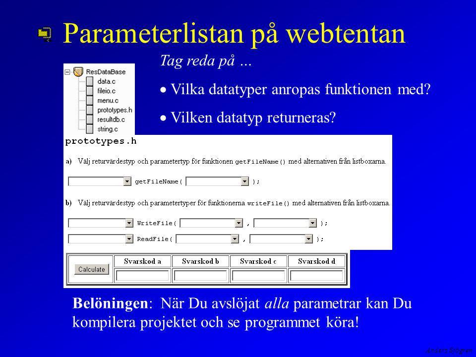 Anders Sjögren Parameterlistan på webtentan Tag reda på …  Vilka datatyper anropas funktionen med.