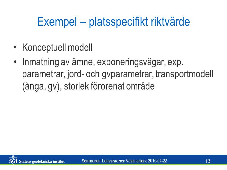 Seminarium Länsstyrelsen Västmanland 2010-04-22 13 Exempel – platsspecifikt riktvärde Konceptuell modell Inmatning av ämne, exponeringsvägar, exp. par