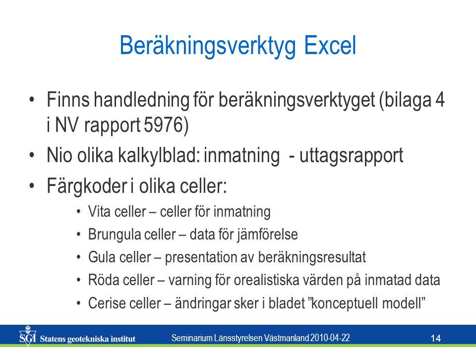 Seminarium Länsstyrelsen Västmanland 2010-04-22 14 Beräkningsverktyg Excel Finns handledning för beräkningsverktyget (bilaga 4 i NV rapport 5976) Nio