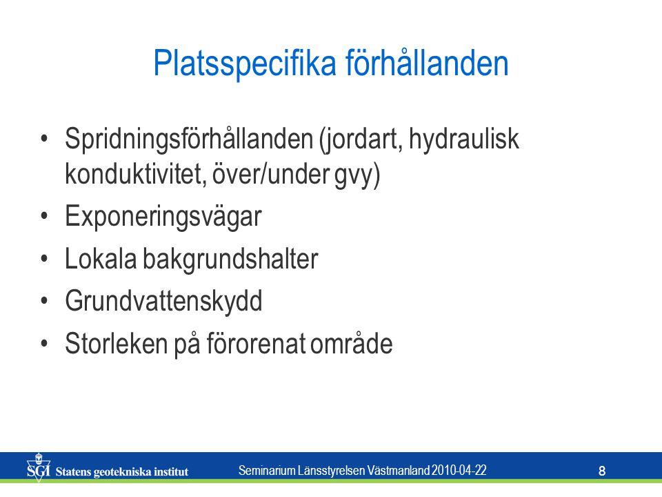 Seminarium Länsstyrelsen Västmanland 2010-04-22 8 Platsspecifika förhållanden Spridningsförhållanden (jordart, hydraulisk konduktivitet, över/under gv