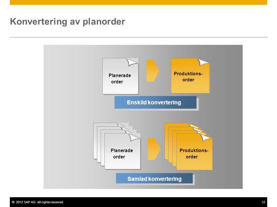 ©2012 SAP AG. All rights reserved.12 Enskild konvertering Planerade order Produktions- order Samlad konvertering Konvertering av planorder Produktions