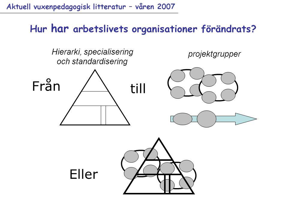 Aktuell vuxenpedagogisk litteratur – våren 2007 Från till Eller Hierarki, specialisering och standardisering projektgrupper Hur har arbetslivets organisationer förändrats?