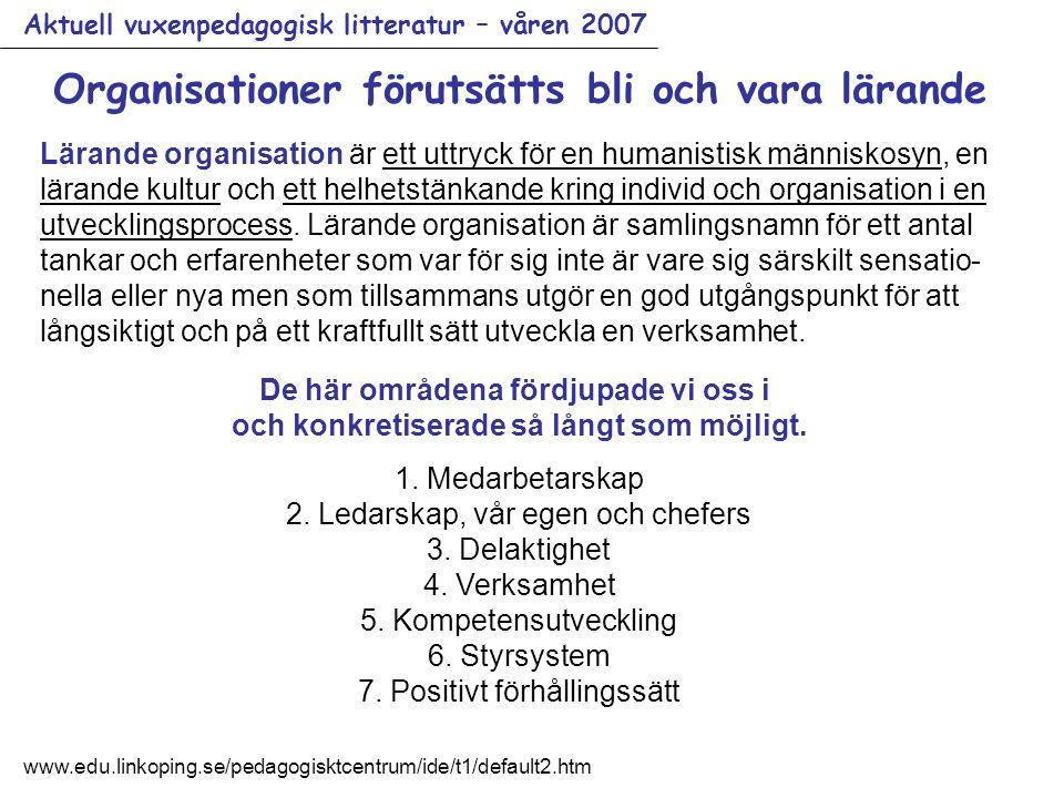 Aktuell vuxenpedagogisk litteratur – våren 2007 Organisationer förutsätts bli och vara lärande Lärande organisation är ett uttryck för en humanistisk människosyn, en lärande kultur och ett helhetstänkande kring individ och organisation i en utvecklingsprocess.