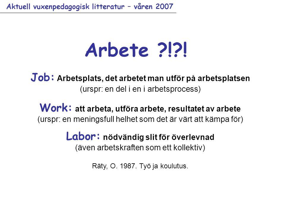 Aktuell vuxenpedagogisk litteratur – våren 2007 Arbete ?!?.