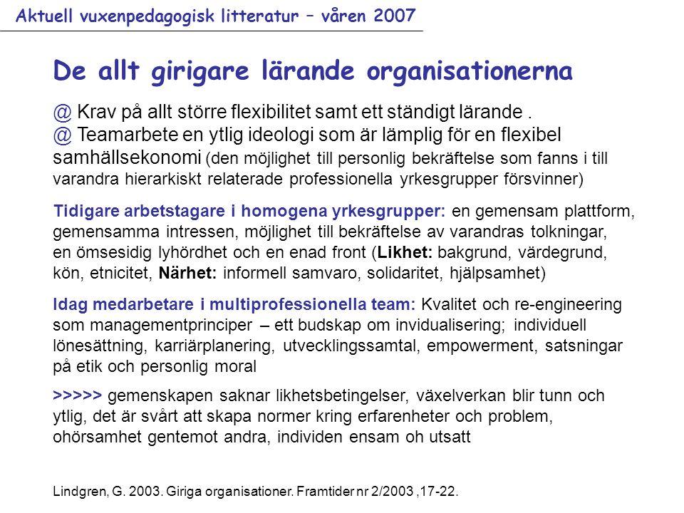 Aktuell vuxenpedagogisk litteratur – våren 2007 De allt girigare lärande organisationerna @ Krav på allt större flexibilitet samt ett ständigt lärande.