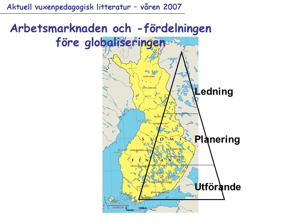 Aktuell vuxenpedagogisk litteratur – våren 2007 Arbetsmarknaden och -fördelningen före globaliseringen Ledning Planering Utförande