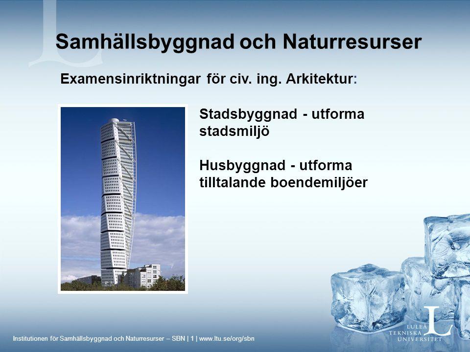 Institutionen för Samhällsbyggnad och Naturresurser – SBN | 2 | www.ltu.se/org/sbn Samhällsbyggnad och Naturresurser Examensinriktningar för civ.